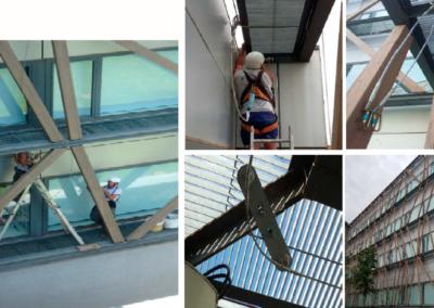 EN-795 C Líneas de vida en fachada edificio Telefónica. Parc Belloch, Universidad