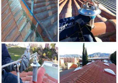 EN-795 C Línea de vida horizontal flexible cubierta obra en colegio Sagrada Familia